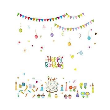 Toyvian Niños Feliz cumpleaños Pegatinas de Pared de Dibujos ...