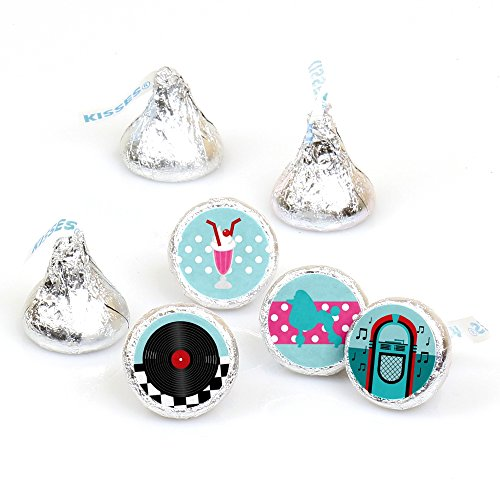 (50's Sock Hop - 1950s Rock N Roll Party Round Candy Sticker Favors - Labels Fit Hershey's Kisses (1 Sheet of)
