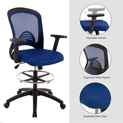 Ergonomic Mesh Office Drafting Chair – Adjustable Height with arms, Tall Office Computer Reception Desk Chair…