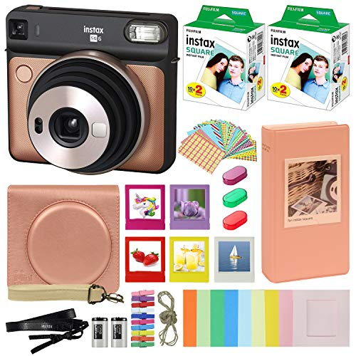 Fujifilm Instax Square SQ6 – Instant Camera Blush Gold with Carrying Case + Fuji Instax Film Value Pack (40 Sheets) Accessories Bundle, Color Filters, Photo Album, Assorted Frames + More