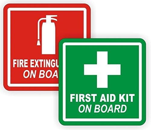 (2 Pcs Primo Popular Fire Extinguisher First Aid Car Sticker Truck Emblem Kit On Board Self-Adhesive Size 2