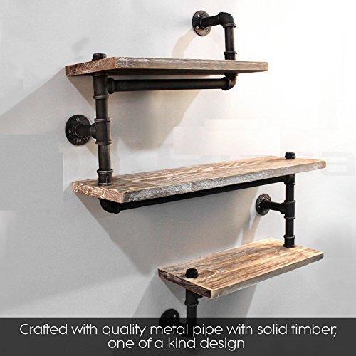 Industrial Pipe Shelving Bookshelf Rustic Modern Wood