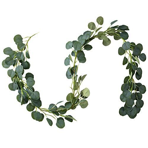 Belle Fleur Faux Eucalyptus Garland 6FT, 148 Pcs Leaves Christmas Greenery Garland for Wedding Backdrop Centerpiece Decor