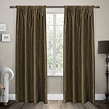 exclusive home curtains saturn embroidered rod pocket window curtain panel pair cappuccino 54x96