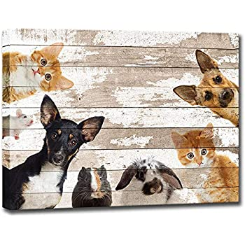 Amazon.com: Visual Art Decor Vintage Happy Dog on Wood