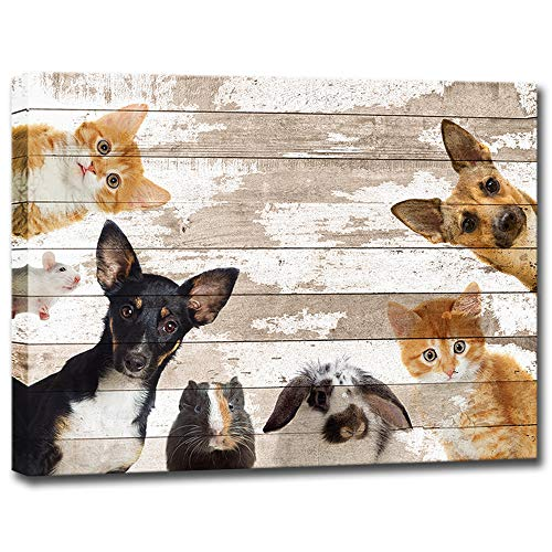 Cute Animals Canvas Wall Art Vintage Dog Cat Mouse Rabbit Hamster Wall Painting Print Canvas Framed Modern Home Decor Animal Prints for Baby Room Kids Room Ready to Hang 16