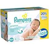 Pampers Baby Wipes, Sensitive, 1024 Count