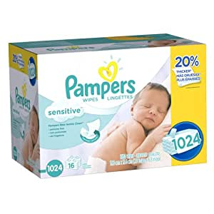Amazon Com Pampers Baby Wipes Sensitive 16x Refill 1024