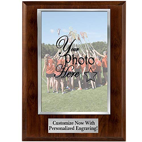Photo Plaques - 8x10 Vertical Photo Frame Plaque with Silver Photo Cover and Personalized Engraving Prime ()