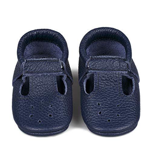 LittleBeMocs T-Strap Baby Moccasins (Italian Leather) Soft Sole Shoes for Boys and Girls | Infants, Babies, Toddlers (XXS | 3-6 mo. | 3.9'' | 10 cm, Navy Blue)