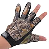 LIAMTU Anti-slip Fishing Gloves with 3 Fingerless, Water-proof Fishing Gloves Camouflage Color