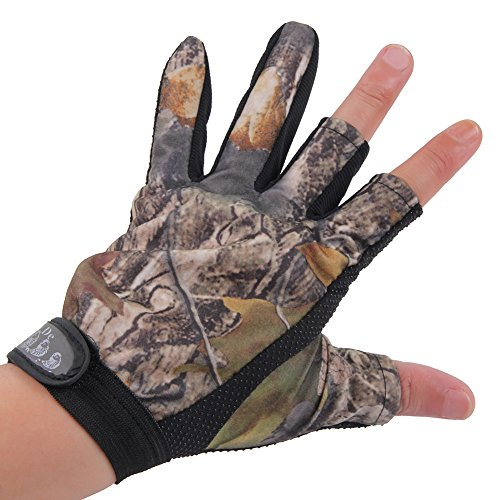 LIAMTU Anti-slip Fishing Gloves with 3 Fingerless, Water-proof Fishing Gloves Camouflage Color (Nylon Gloves Camouflage)