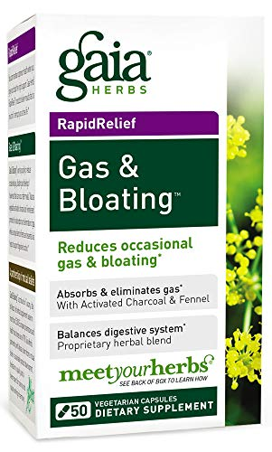 Gaia Herbs Gas and Bloating Supplement, Vegetarian Capsules, 50 count - Eliminates Gas, Improves Digestive Function, Activated Charcoal and Fennel