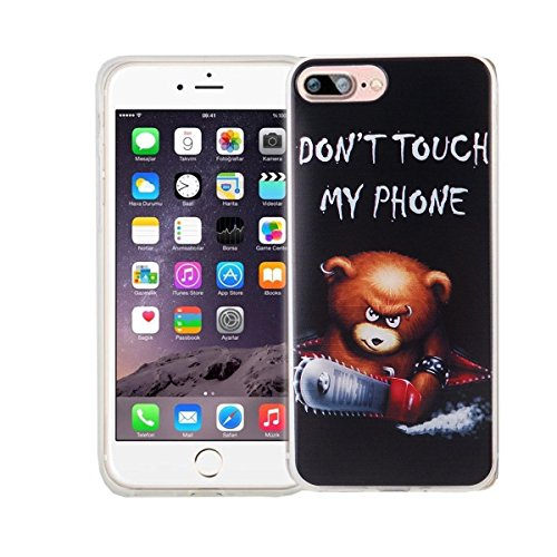 König-Shop Handy Hülle für Apple iPhone 7 Plus Cover Case Schutz Tasche Motiv Slim Silikon Bumper Schale Etuis Rahmen TPU Motiv Schriftzug Bär mit Kettensäge