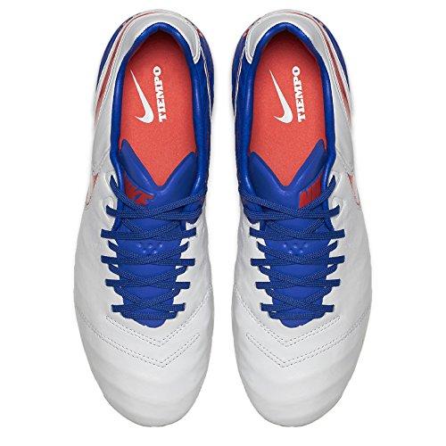 Nike Femmes Tiempo Légende Vi Fg Crampons De Football En Cuir Blanc / Racer Bleu / Volt / Brillant Cramoisi