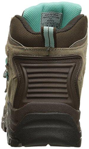 Nevados Women's Klondike Mid Waterproof Hiking Boot, Brown Shitake Brown/Dark Chestnut/Vivid Aqua