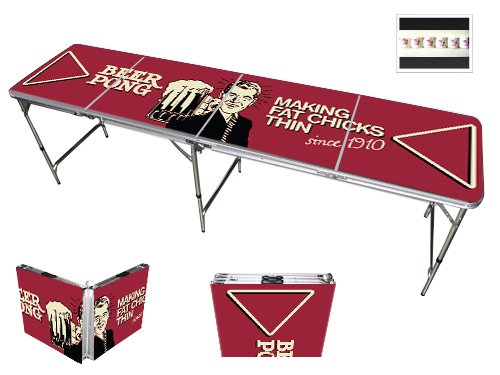 Red Cup Pong Trademark Innovations 8' Folding Beer Pong Table with Bottle Opener, Ball Rack and 6 Pong Balls - Comedic Design by Red Cup Pong