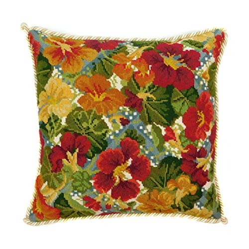 Nasturtium Trellis Needlepoint Kit by Elizabeth Bradley. A Premium English Needlepoint Pillow Project on a Cream Background with 100% Wool Yarns.
