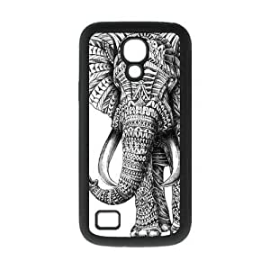 Black and White Aztec Elephant Protective Rubber Cover Case for SamSung Galaxy S4 Mini i9192/i9198