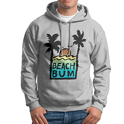 CSECGAR Beach Bum Sunshine Men's Pullover Hooded Sweatshirt XXL Ash ()