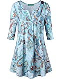 Tunic Tops for Leggings for Women,Kimmery Ladies Floral Half Sleeve Flare Flowy Loose Basic Top Comfy Notch V Neck Button-up Decoration Casual Office Tunic Blouse Blue Large