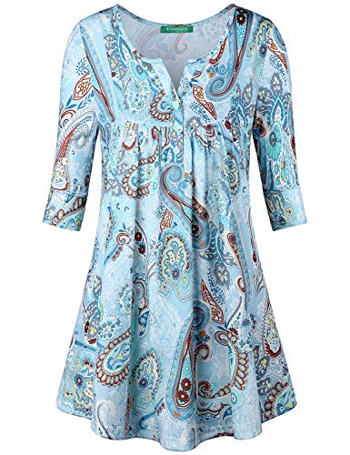 Floral Print Tops, Kimmery Loose Half Sleeve V Neck Blouse for Women Casual Swing Elegant Stylish T-Shirt Flare Silhouette Relaxted Fitting Leisure Clothes Blue Medium