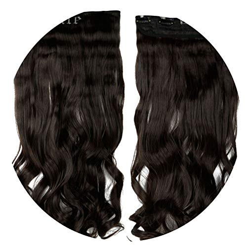 """world-palm 28"""" One Piece Long Clip in Hair Extension half full head real natural remy hair Extentions Curly Synthetic Hairpiece,#2,24inches,United States"""