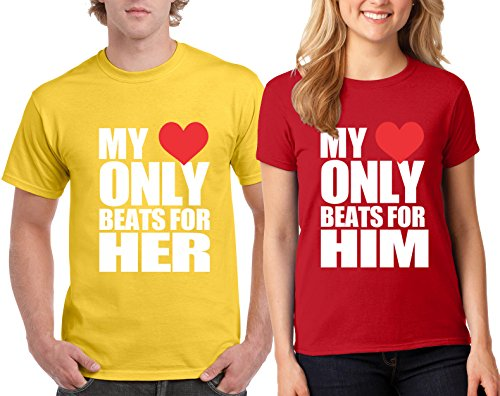 My Heart Beats For Her him Couple Valentine's Day Special T-Shirts Tee Shirts 1(Yellow-Red,Men-XL/Women-L)