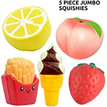 Jumbo Silly Squishies 5 pcs Quality Slow Rising Kawaii Squishys + Keychain Squishy Shop Scented Large Cute Toy for 3 year old and up Peach + Lemon + Ice Cream Cone Keychain + French Fries + Strawberry