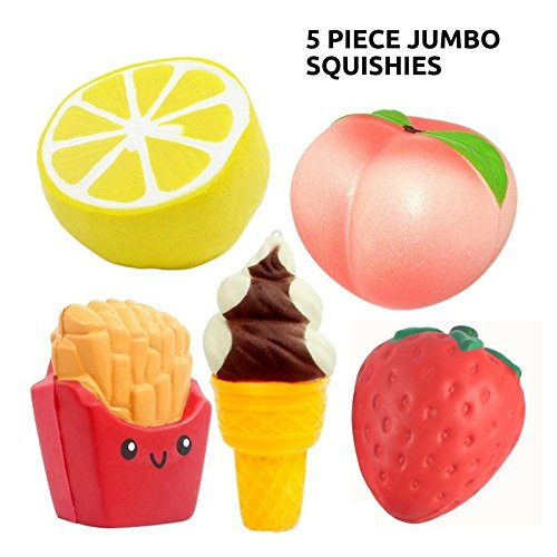Jumbo Silly Squishies 5 pcs Quality Slow Rising Kawaii Squishys + Keychain Squishy Shop Scented Large Cute Toy for 3 year old and up Peach + Lemon + Ice Cream Cone Keychain + French Fries + Strawberry by SquishyShop