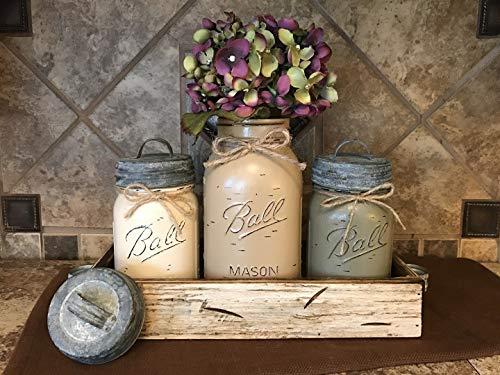 Ball Mason Jar CANISTER 7pc SET with galvanized metal lids ~Antique WHITE wood Tray ~Mini utensil tea holder, Kitchen Bathroom centerpiece (flower optional) ~JARS Distressed Gray Blue Green Cream Tan - Lodge Sugar