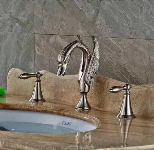 Gowe Brushed Nickle Bath 3pcs Sink Tap Deck Mounted Double Handles Hot&Cold Faucet 0