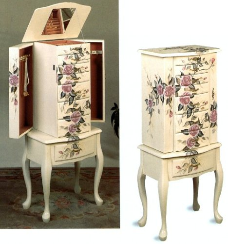 - Hand Painted Jewelry Armoire Off White