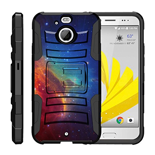 TurtleArmor | HTC Bolt Case | HTC 10 Evo Case [Hyper Shock] Hybrid Dual Layer Armor Holster Belt Clip Case Kickstand - Colorful Nebula Galaxy (Girls Evo Case Lte For 4g Htc)