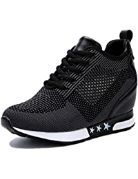 Womens Hidden Wedges High Top Sneakers Height Increase Elevator Shoes High Heels Fashion Mesh