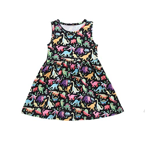 ModnToga Toddler Baby Girl Summer Dress Dinosaur Printed Skirt Sleeveless Outfits Clothes Set (Black, 100(18-24M)) ()