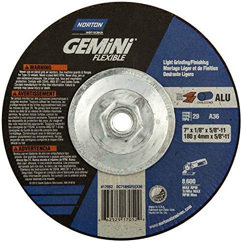 - Norton 66252917052 7x1/8x5/8-11 in. Gemini Depress Center Wheels, Al