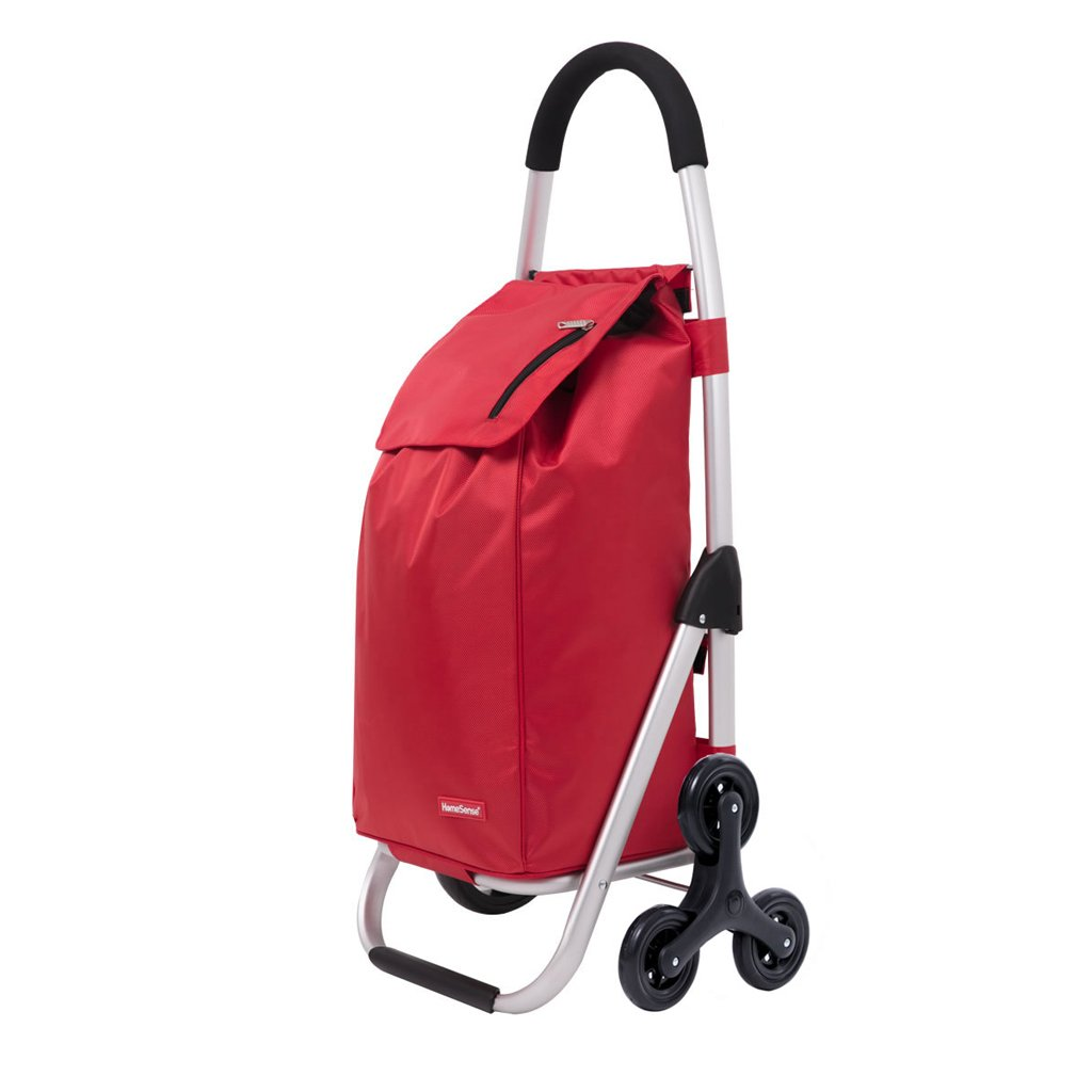 JJJJD 折り畳み式のデザインのショッピングトロリー三輪車、大容量の階段クライミングカート (Color : Red) B07SWY177F Red