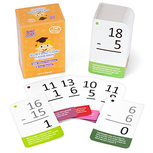 Subtraction Math Flash Cards with Word Problems - 196 Self-Checking Cards, All Minuends 0-18 for Early Grade Teaching by Pint-Size Scholars