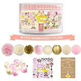 Girl Baby Shower Decorations - 80PC Bundle Includes - Garland bunting banner Bonus+30PC photo booth props Bonus+8PC balloons Plus+E-book Prediction Card and Decorations Set with in Ziplock Bag