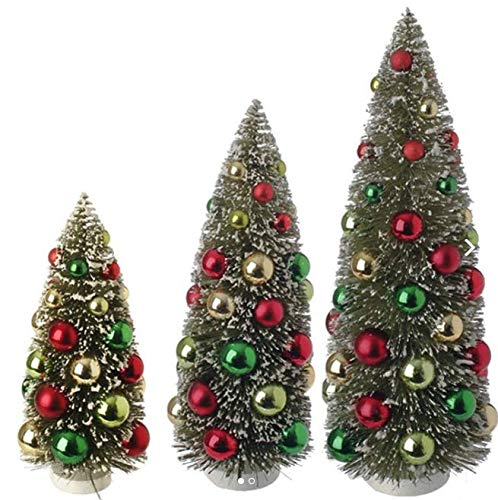 (RAZ Imports - Set of 3 - Decorated Bottle Brush Trees)