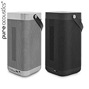 Pillar by Pure Acoustics || Bluetooth Speakers 36W Power Output Bluetooth Connectivity USB Input 3.5mm Auxiliary Port FM Radio Internal Microphone 9 Hours Rechargeable Battery Life