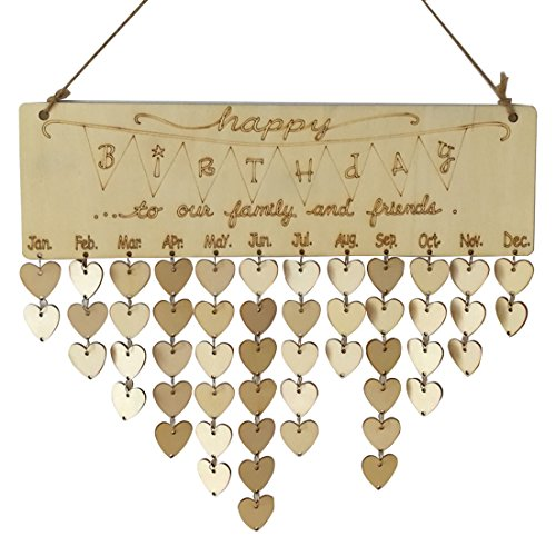 Happy Birthday Plaque (Birthday Reminder Wooden Hanging Calendar Plaque Board Home Party Decoration)