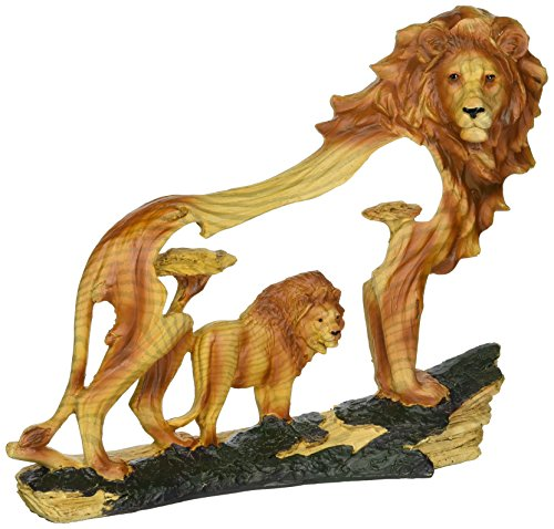 (StealStreet SS-UG-MMD-188, 6.5 Inch Lion in The Wild Woodlike Bust Scene Carving Statue)