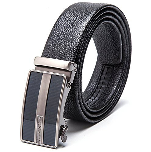 "Men's Leather Automatic Buckle Ratchet Dress Belt for Men Perfect Fit Waist Size Up to 46""-Functional, Stylish and Durable (Custom: Up to 46'', #8 Black)"