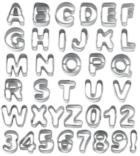 amazoncom wilton fondant alphabet number cookie cutter cut outs set of 37 food sculpting tools kitchen dining