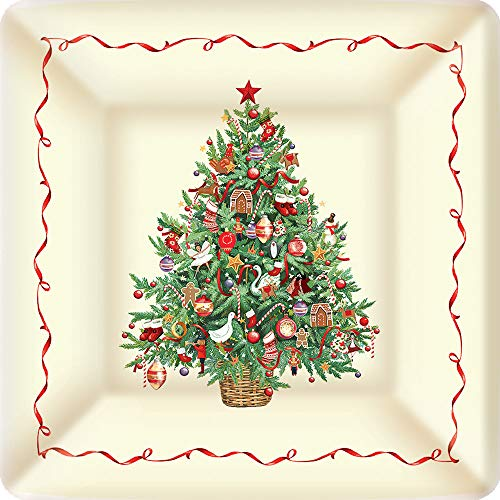 - Boston International PEK705800HG IHR Square Dessert Paper Plates, 7 x 7-Inches, Cristmas Tree