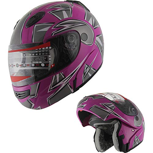 MRC Motorcycle Flip up Modular Full Face DOT Snowmobile Helmet with Anti-Fog Shield Pink (L)