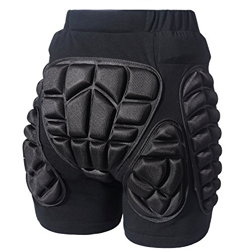 (Soared 3D Protection Hip Butt EVA Paded Short Pants Protective Gear Guard Impact Pad Ski Ice Skating Snowboard Black)