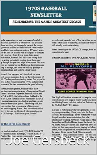 1970s Baseball Newsletter - October, 2018 por Joe Gersbeck
